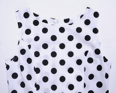 White Polka Dot Dress 1950s Women's Fashion Large Vintage Dresses