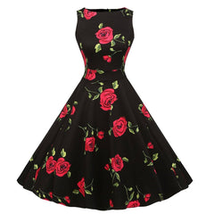 Floral Print Vintage 50s Swing A-Line Party Dress Sleeveless