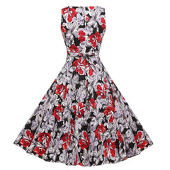 Hepburn Style Vintage Floral Garden Cocktail Party Swing Dress