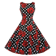 50s Polka Dot Dress Floral 1950s Fashion Audrey Hepburn Vintage Style Dresses