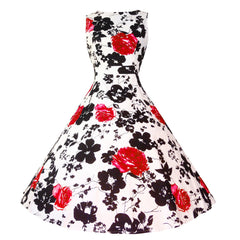 Girls Sleeveless Vintage Print Swing Party Dresses