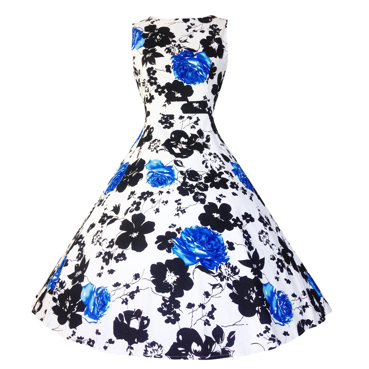50s Vintage Dresses Floral Sleeveless Tea Dress