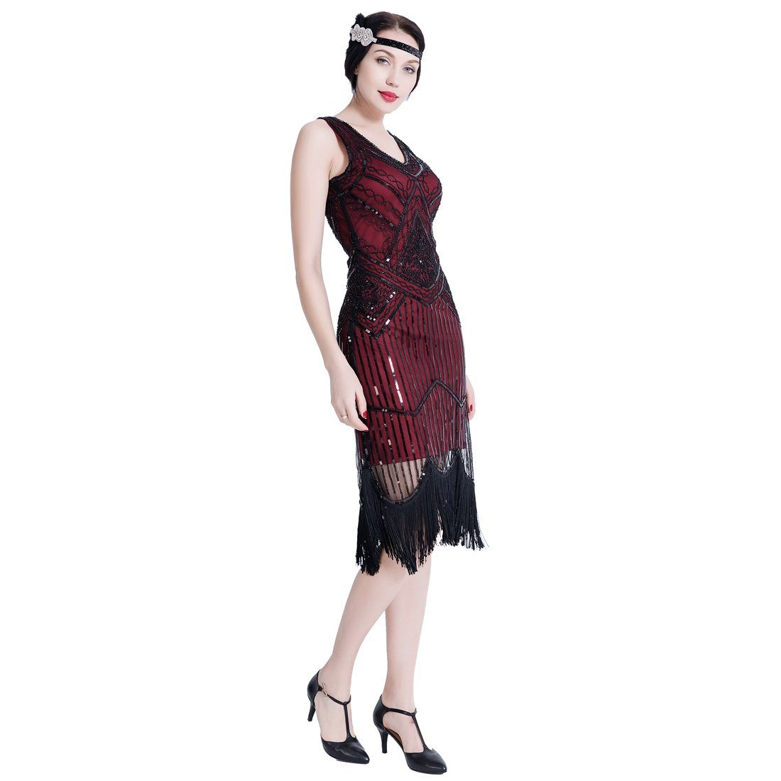 1920s Gatsby Themed Party Flapper Dresses Sequins Party Dress Wine Red