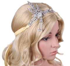 Art 1920's Flapper Great Gatsby Inspired Leaf Medallion Pearls Headpiece