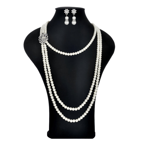 1920s Jewelry Flapper Great Gatsby Imitation Pearl Necklace and Earrings