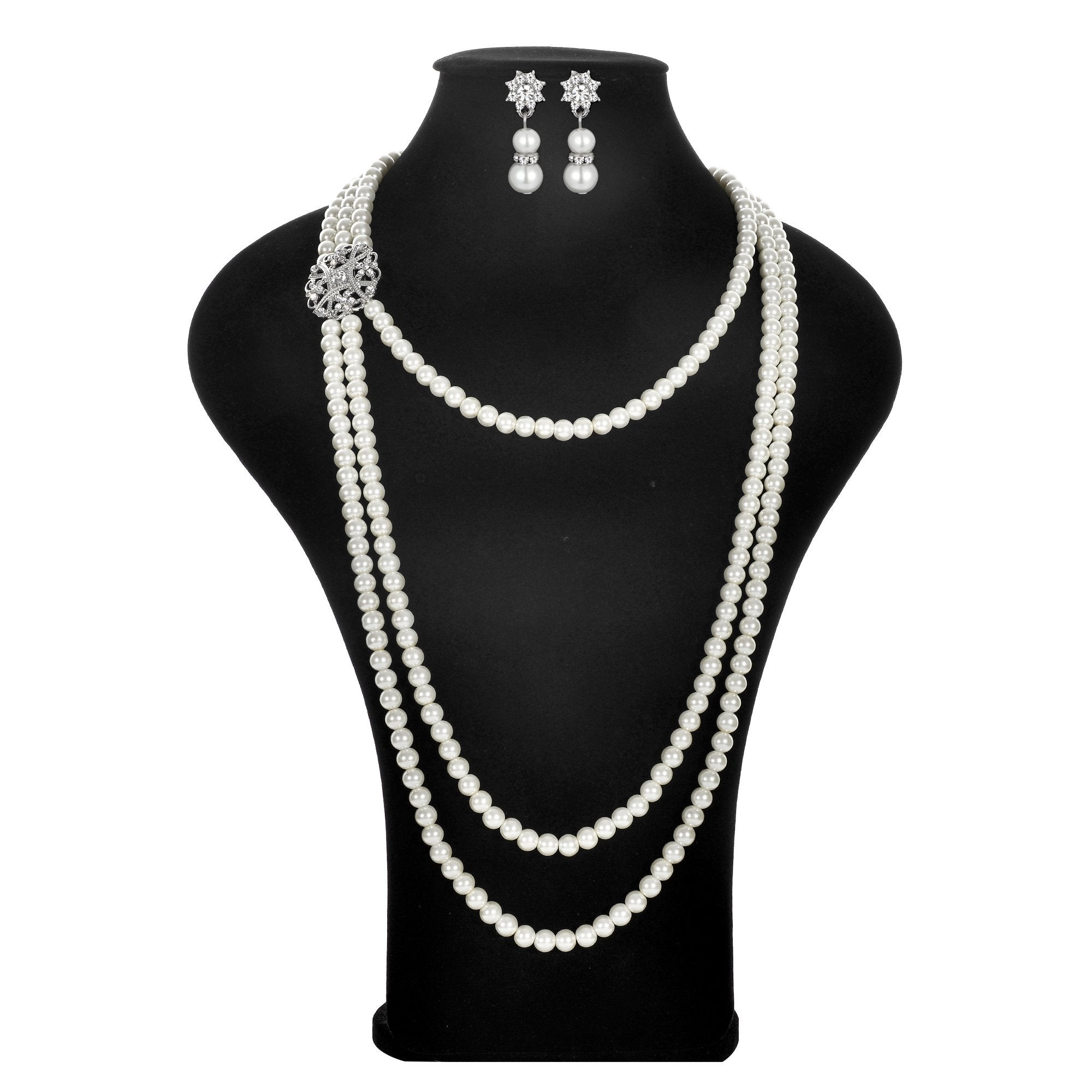 Women's 20s Multilayer Faux Pearls Flapper Long Necklace Earrings Set