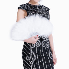 White Fold Out Feather Fan Classy Costume Accessory