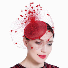 Feather Mesh Net Veil Party Fascinator Hat Flower Derby Hat Clip and Hairband