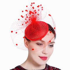 Wedding Fascinator Veil Feather Headband Hats Women Brides Hair Accessories