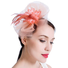 Feather Mesh Flower Derby Fascinator Hat with Headband