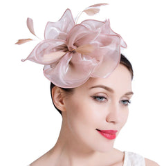 Wedding Fascinator Hat Women Feather Flower Hair Band Church Tea Party Headdress