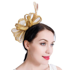 Sinamay Vintage Women Fascinators Derby Hat Feather With Headband Cocktail Headpiec