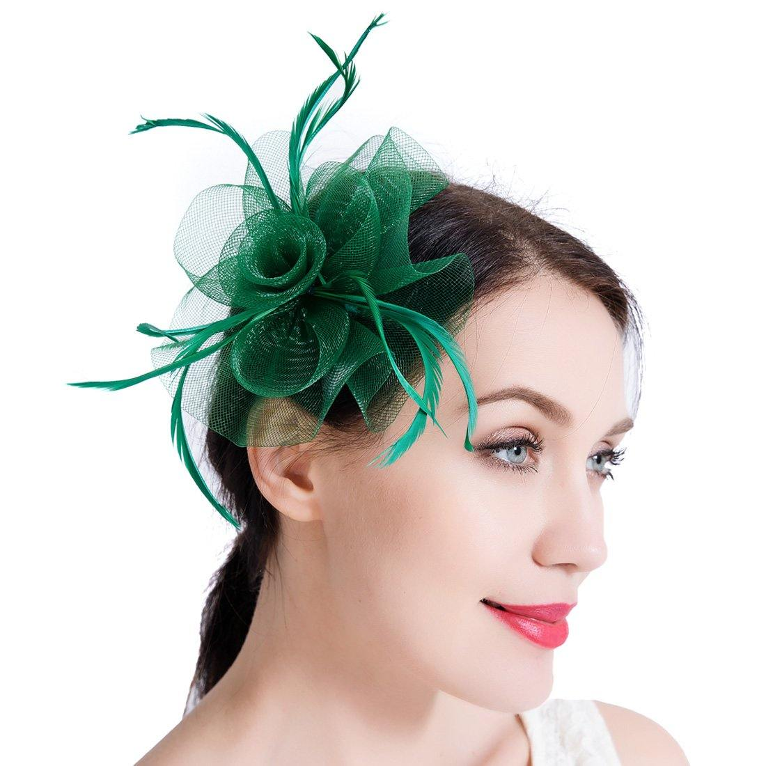 Wedding Cocktail Party Fascinator Beads Feather Net Veils Hair Clip Hat