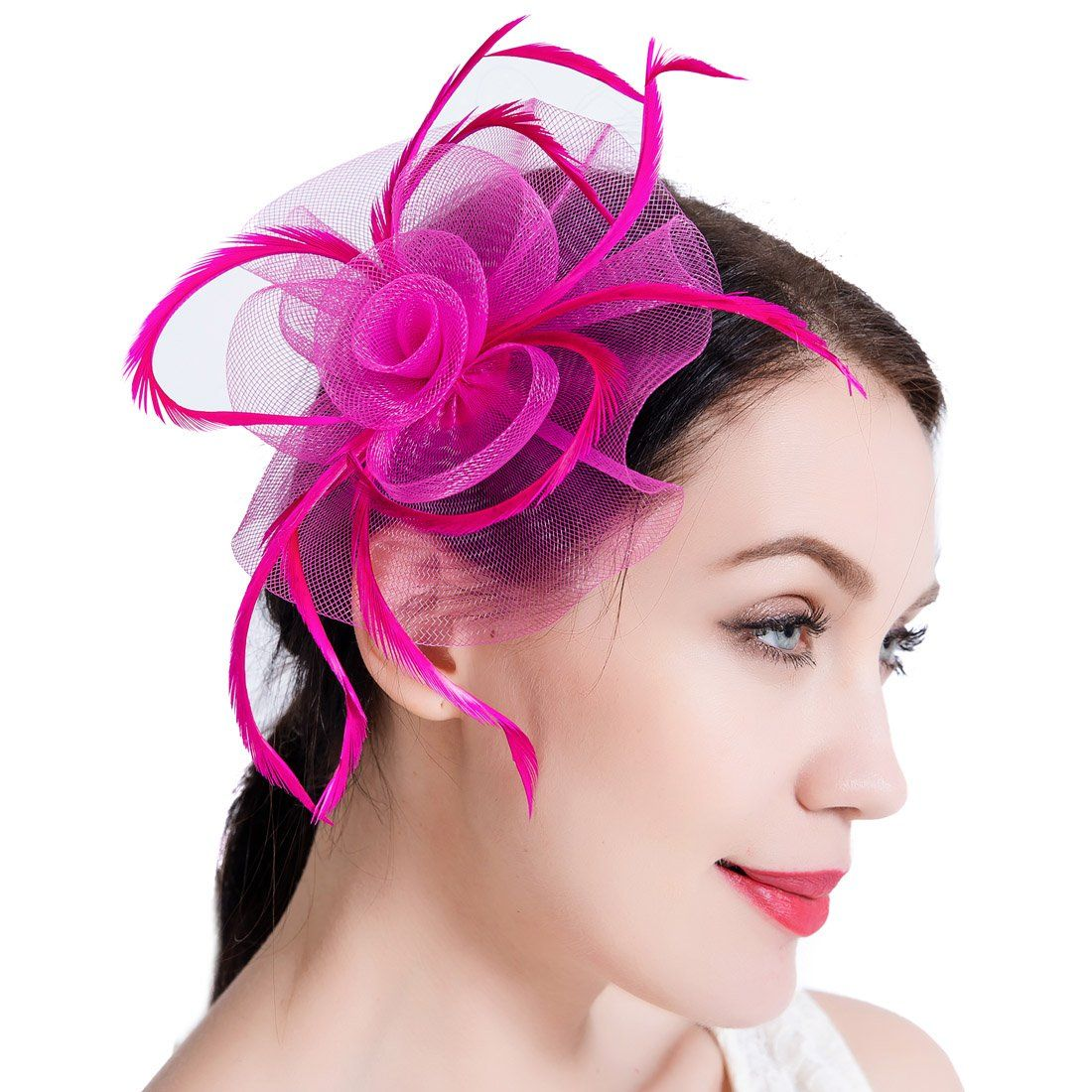 Womens Sinamay Fascinator Hat Feather Mesh Derby Hat with Clip