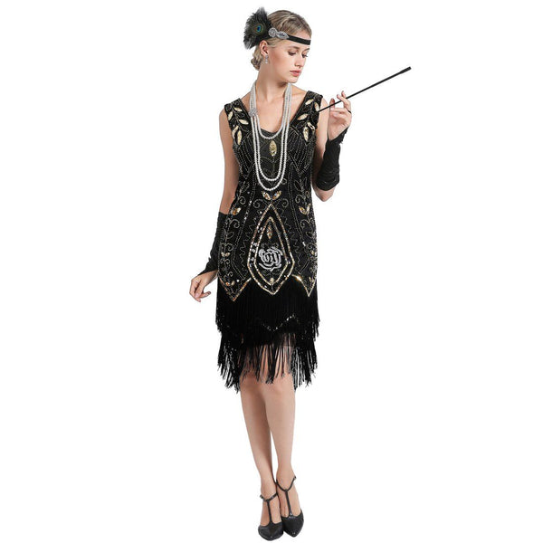 Black Gold 1920s Dress Rose Print Great Gatsby Outfits