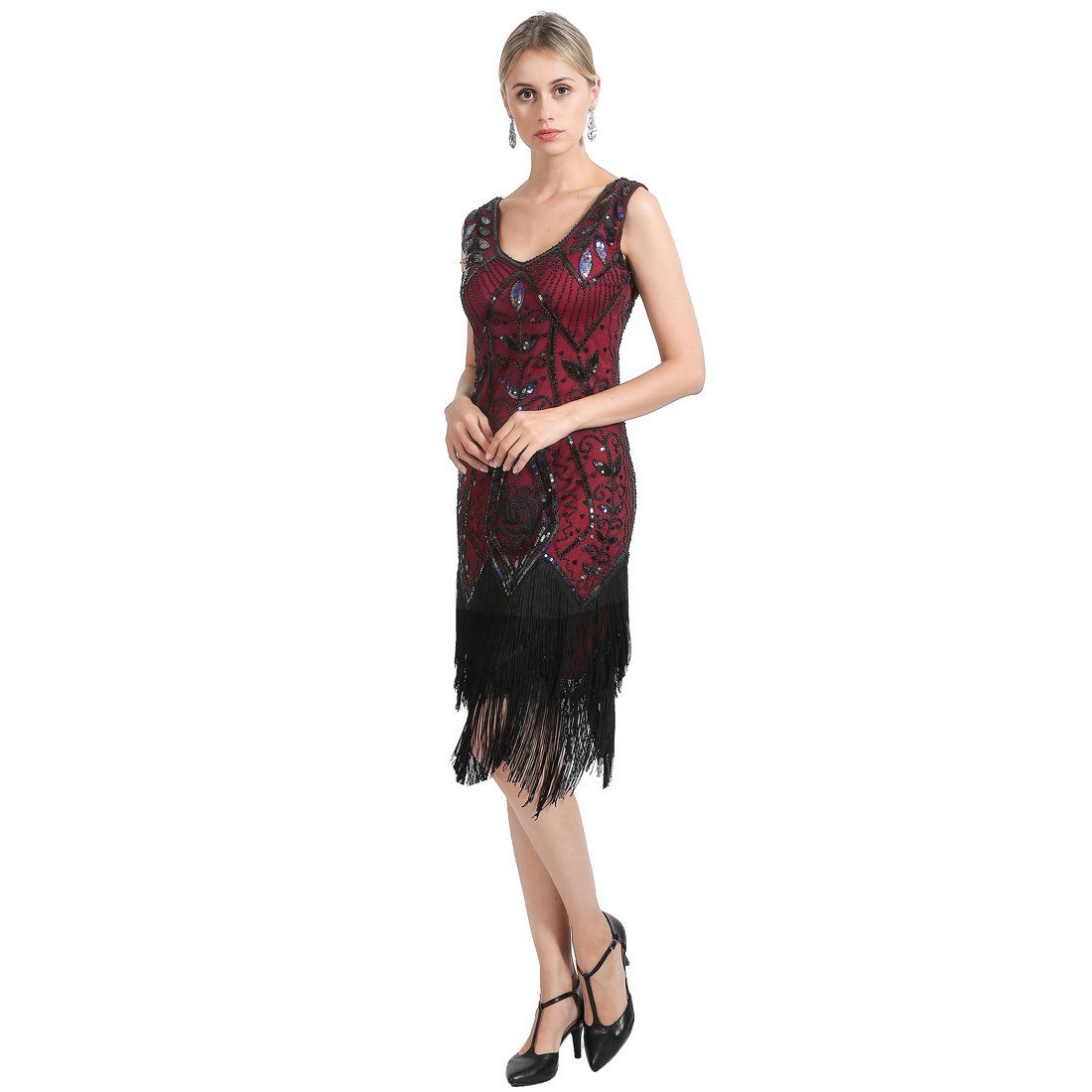 Red Flapper Dresses Rose Print 1920s Gatsby Style