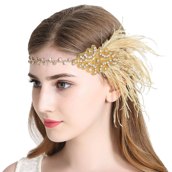 Flapper Headband 1920s Art Deco Gatsby Feather Headpiece