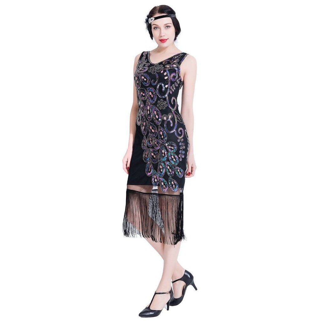 3855061adeeb1 Gatsby 1920s Flapper Dress Sequin Peacock Style Peaky Blinder Themed Party.  JaosWish. SKU: FLD80003-S. Previous