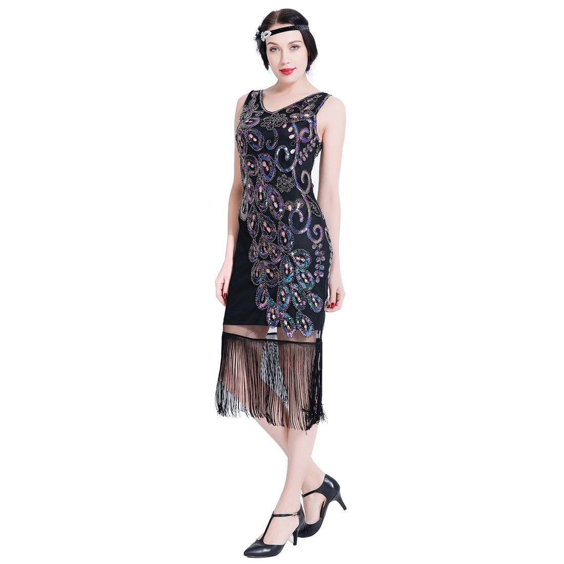 Gatsby 1920s Flapper Dress Sequin Peaky Blinder Themed Party