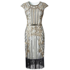 Ivory Gold 1920s Flapper Dress Great Gatsby Theme Party