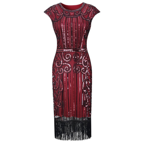 Wine Red Great Gatsby Fancy Dress 1920s Fashion Women 20's Themed Party