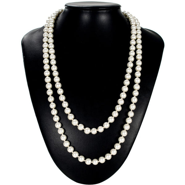 Great Gatsby Faux Pearl Pendant Necklace 1920s Jewelry