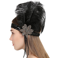 Great Gatsby Feather Flapper Headbands Tassels Beaded