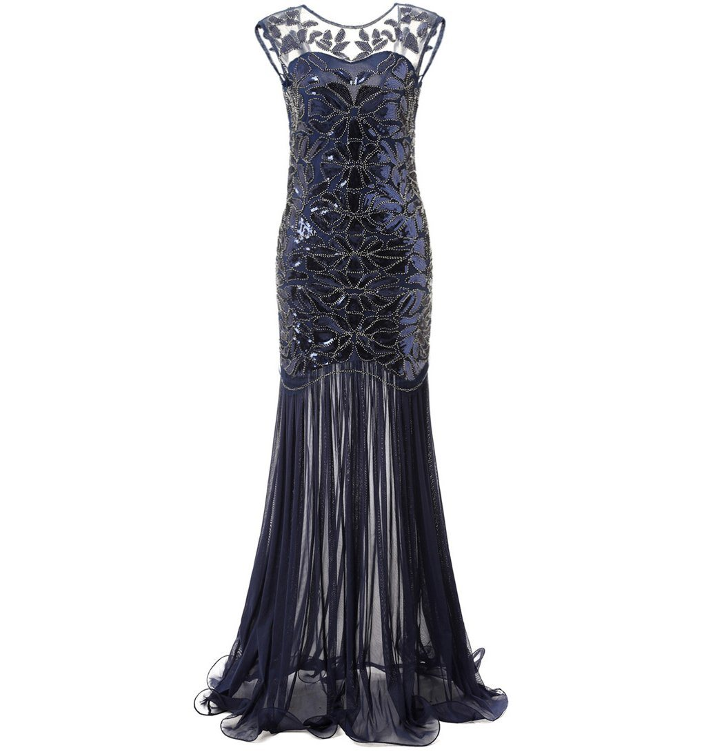 Sequin Beaded Art Deco 1920s Style Dress 1920's Themed Birthday Party navy blue
