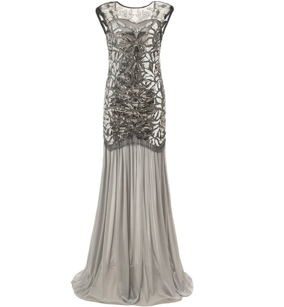 Silver 1920s Dresses Long Great Gatsby Party 20s Inspired Flapper ...