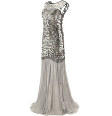 Silver 1920s Long Great Gatsby Dresses Party 20s Inspired Flapper