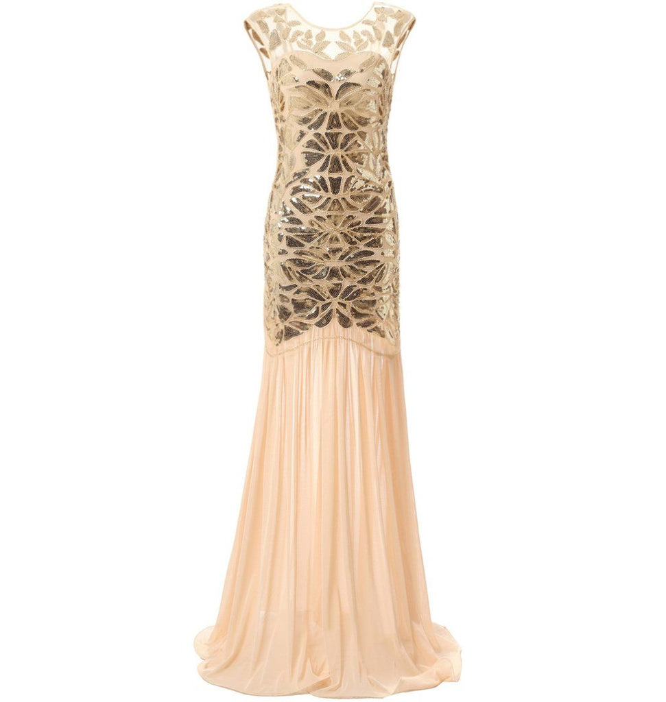 1920s Fashion Long Flapper Dress Great Gatsby Dowton Abbey Evening ...