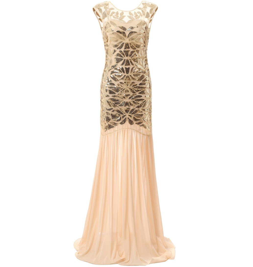 1920s Fashion Long Flapper Dress Great Gatsby Dowton Abbey Evening Gown