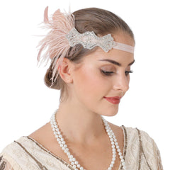 1920s Gatsby Headpiece Women Flapper Headband with feather for Roaring 20s Prom Party|JaosWish
