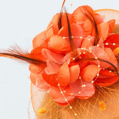 Orange Fascinator Occasion Wedding Hats Tea Party Derby Hat