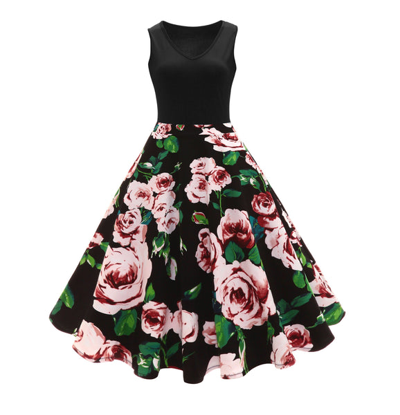 1950s Vintage Retro Ladies Dresses Rose Floral