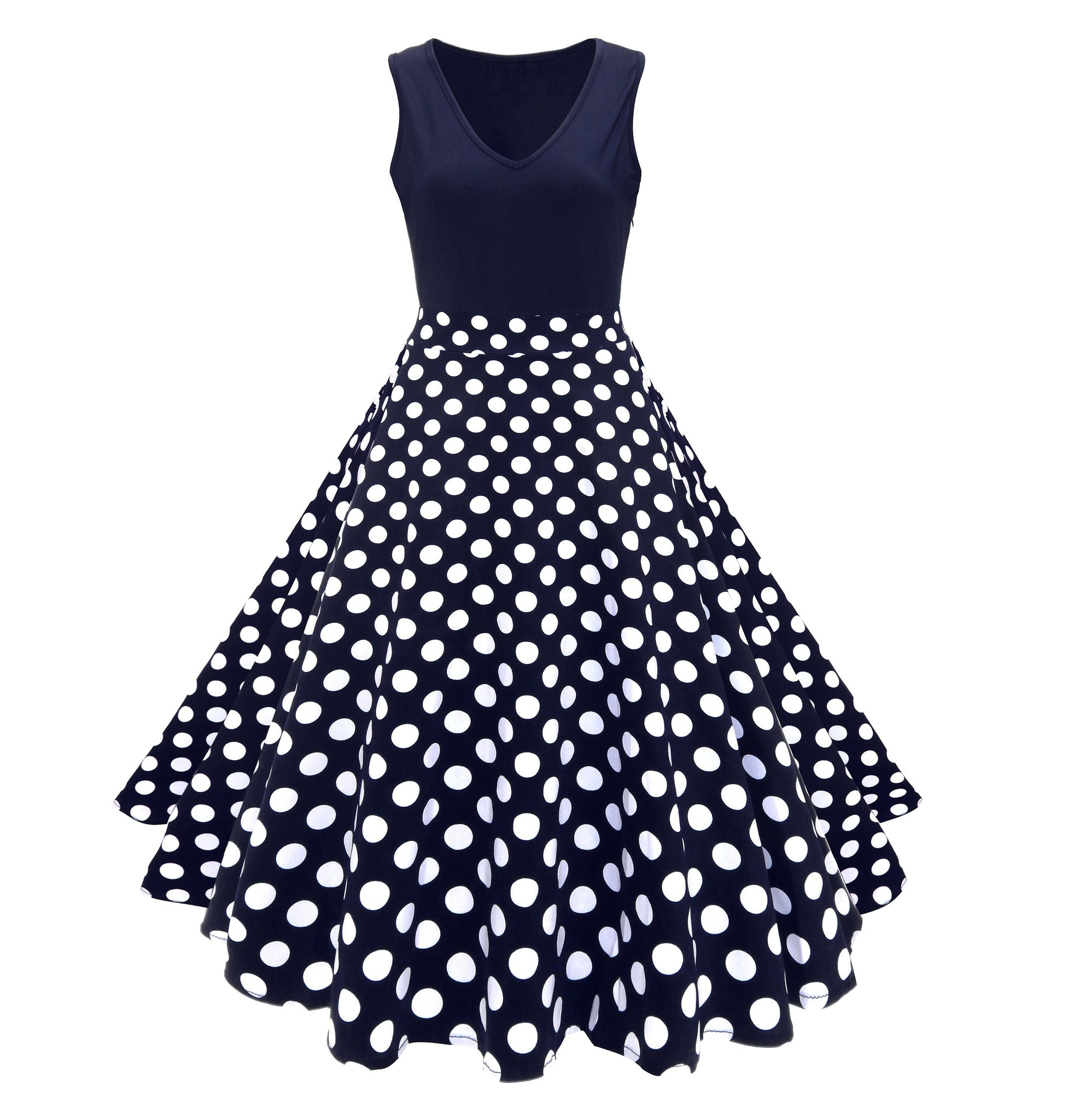 Women's Casual 1950's Vintage Polka Dot Holiday Cocktail Party Dress
