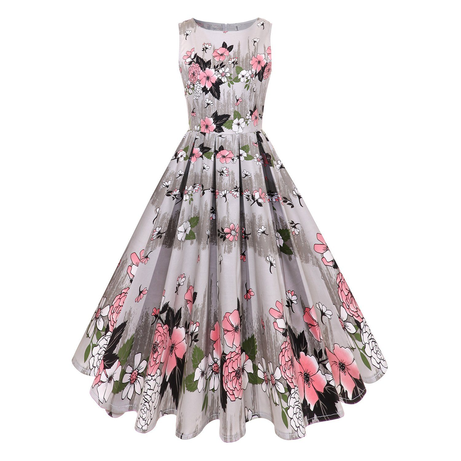 1950s Vintage Retro Floral Printed Hepburn Dress Sleeveless