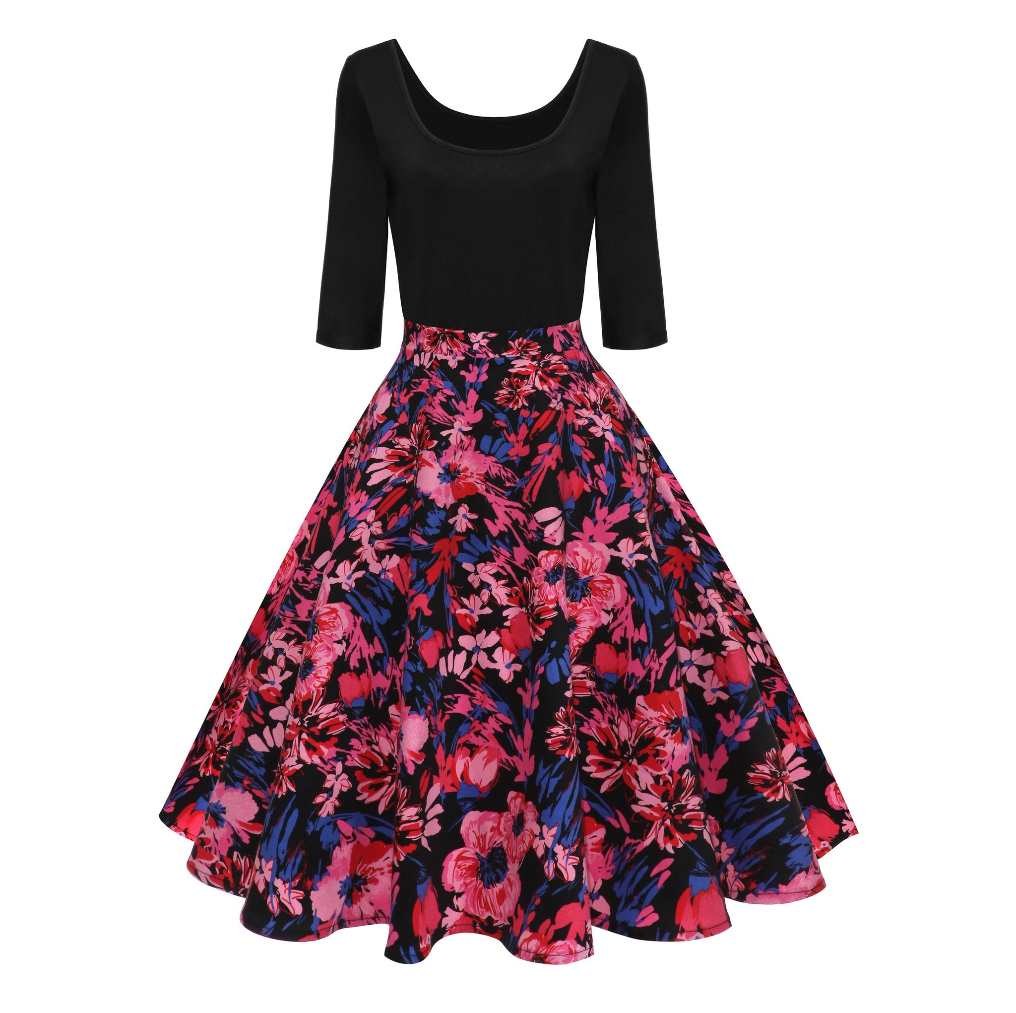 Women's 1950s Vintage Floral Patchwork Swing Party Dress