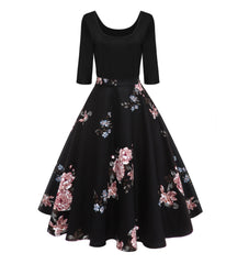 Women's Vintage Longsleeve Floral Dress Cocktail Skater