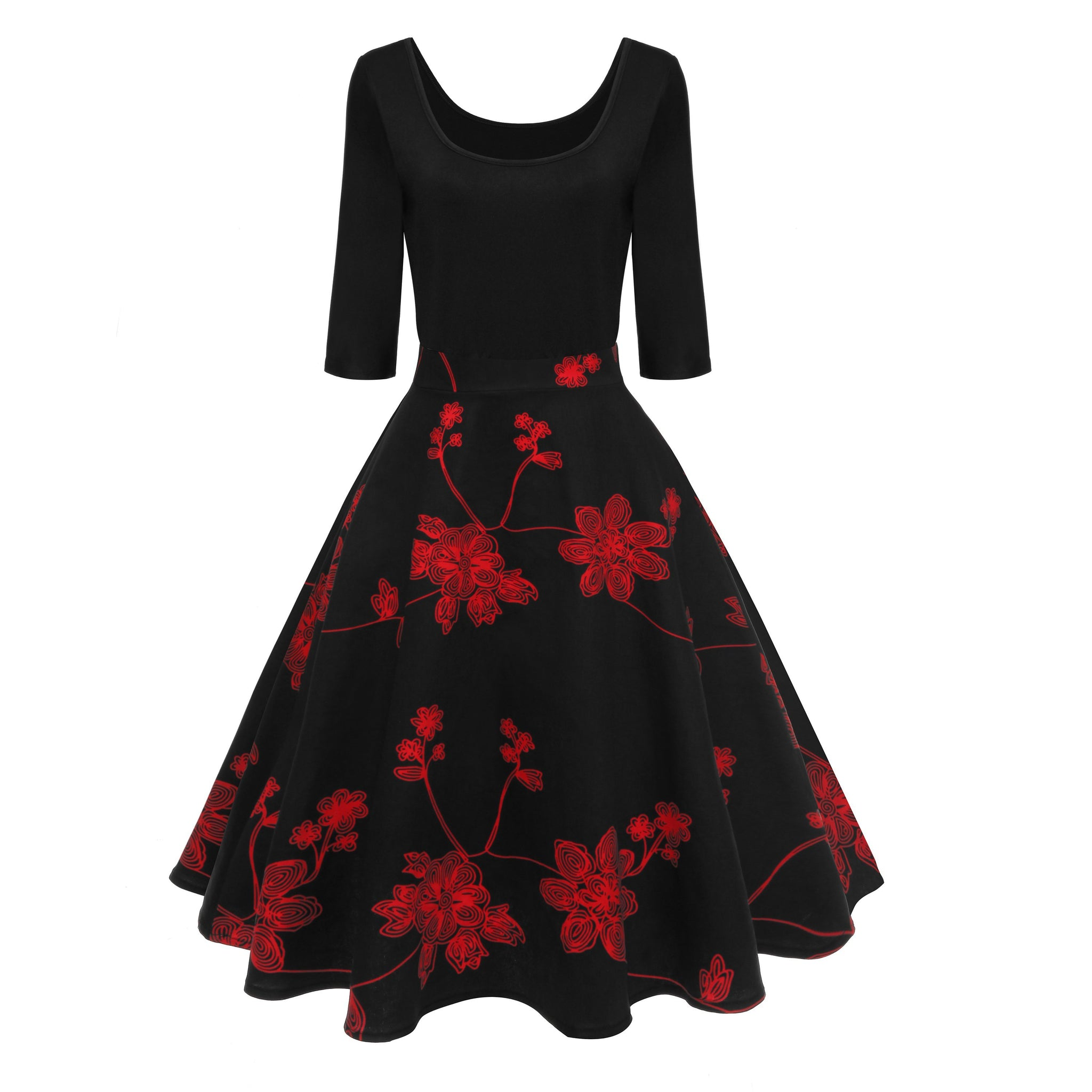 Women's 50s Vintage Floral U-Neck Midi Dress Long Sleeve