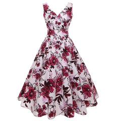 1950s Vintage Retro Floral Printed Hepburn Dress