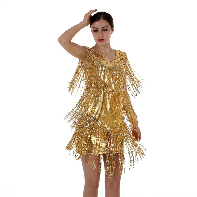 Women's Flapper Dress 1920s Tassel Sequined Party Gold