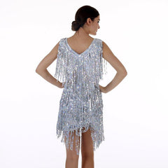Women's Flapper Dress 1920s Tassel Sequined Party Silver