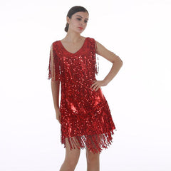 Women's Flapper Dress 1920s Tassel Sequined Party Red