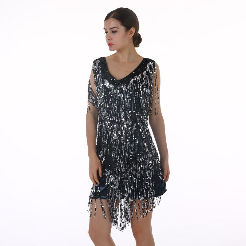 Women's Flapper Dress 1920s Tassel Sequined Party Black