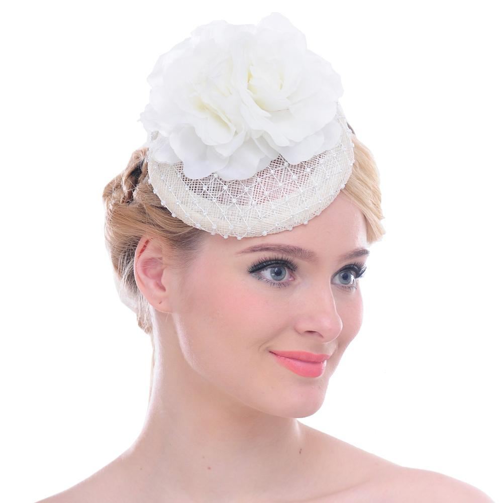 Fascinators Headband Flower Pillbox Hat Hair Hoop Wedding Headpiece for Women