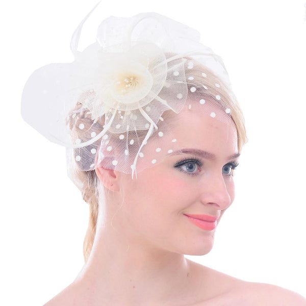 Big Flower Mesh Bow Feather Women Fascinator Dot Veil Hair Clip Wedding