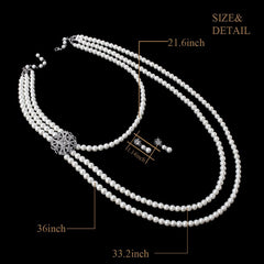 Women's 20s Multilayer Faux Pearls Flapper Long Necklace Earrings Set |JaosWish