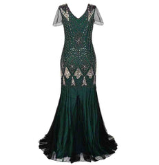 Green Women Evening Dress 1920s Flapper Gatsby Gown