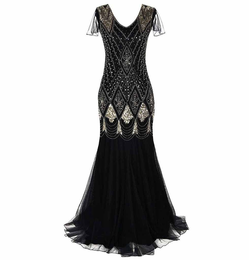 Black Gold Women Evening Dress 1920s Flapper Gatsby Gown